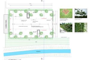 disegno tecnico parcheggio con alberi